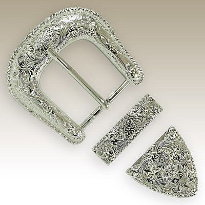 07d0a7cbaf4 Angel Fire Buckle Set B-015. Silver Plated finish with Gold Plate Barbed  Wire trim. Available in two belt sizes. Matching conchos available. Fits 1 1 /2