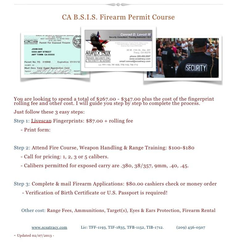 Security guard card firearm permit baton permit for Sunnyvale permit