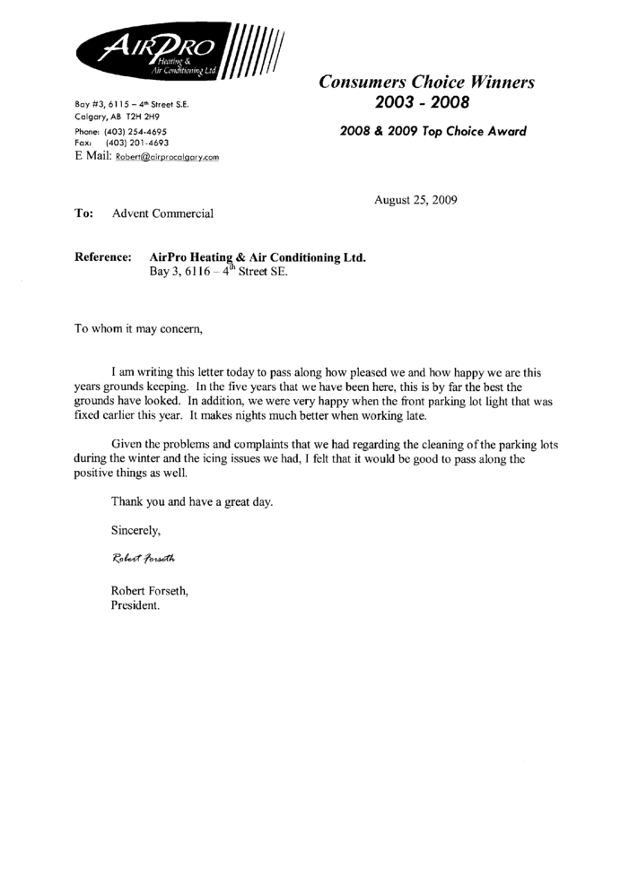 Maintenance Letter Of Recommendation