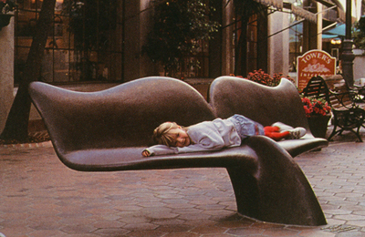 whale tail bench park sculpture