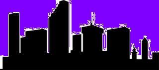 dusk city skyline