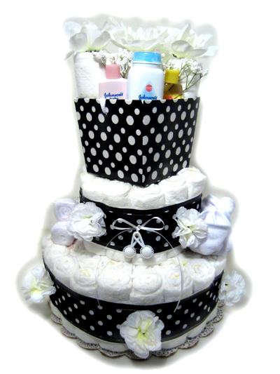 Black Polka Dot Diaper cake