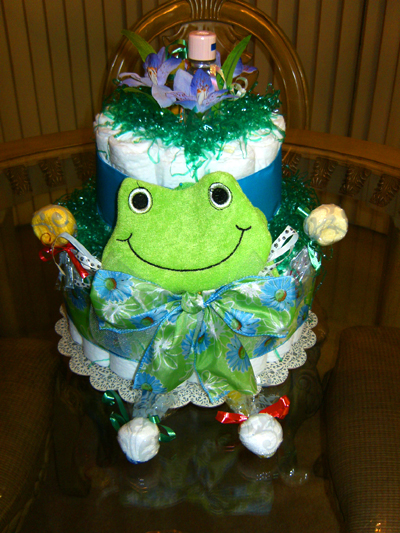 Happy Frog Diaper Cake