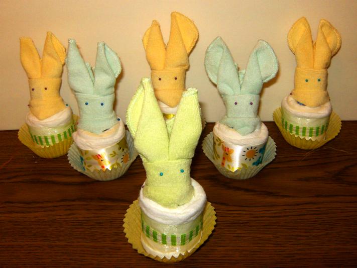 Bunny Ears Diaper Cupcakes
