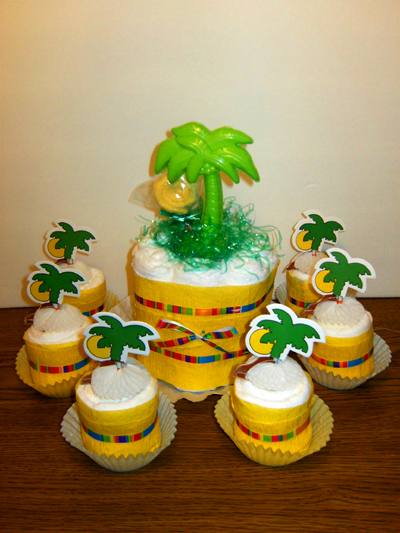 Tropical Sunset Diaper Cake  and Cupcakes
