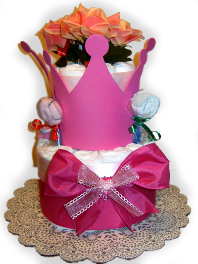 Little Princess Pink Crown Diaper Cake