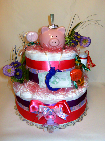My First Piggy Bank Diaper Cake