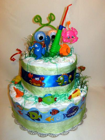 Let's Go Fishing Diaper Cake