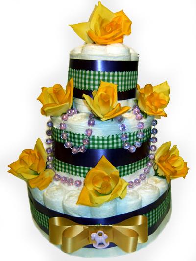 Yellow Rose Diaper Cake