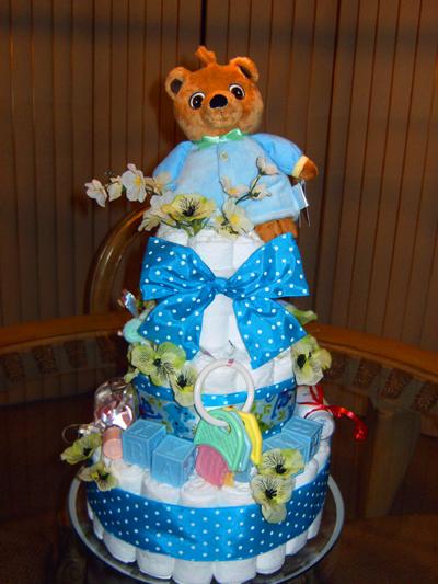 Blue Teddy Diaper Cake