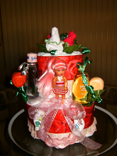 Red Doll Diaper Cake