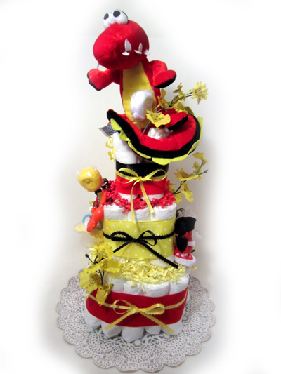 Red Dinosaur Square Diaper cake