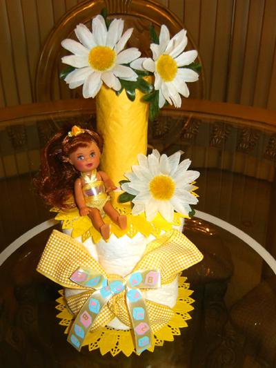 Yellow Daisy Diaper Cake