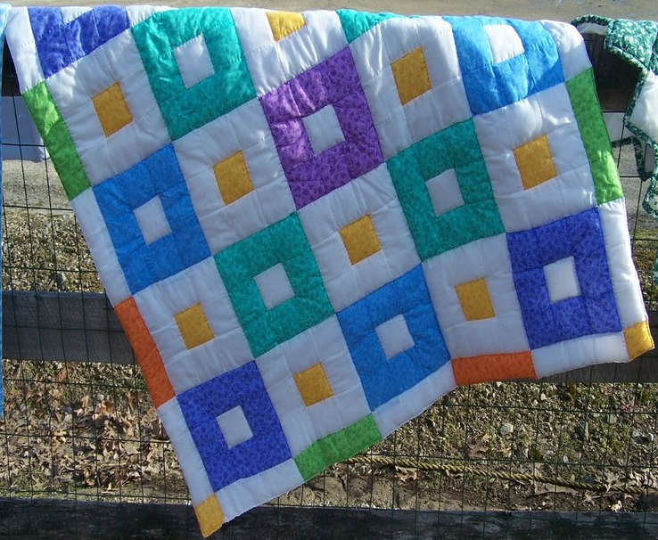 bright, patchwork, baby quilt