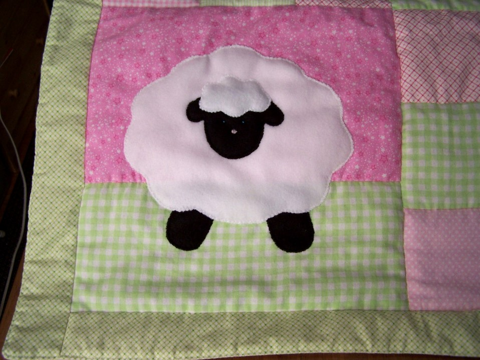 Lamb with Pink and Green Patchwork