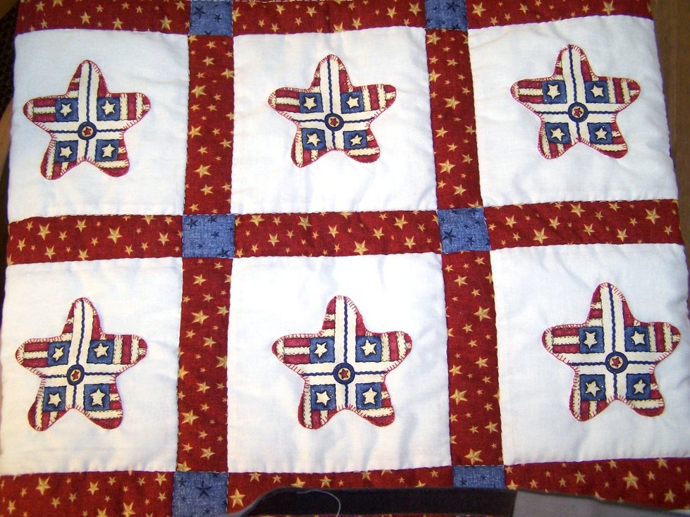 Americana Stars and Stripes Appliqued Quilt