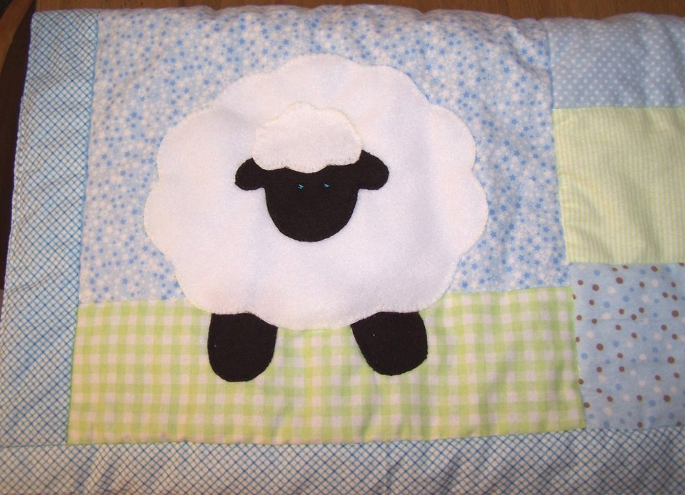 Lamb with Blue and Green Patcwork