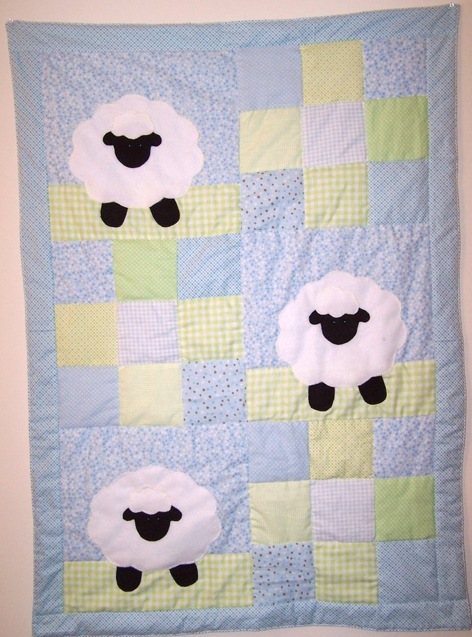 Lamb with Blue and Green Patchwork