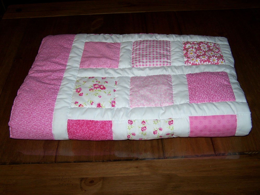 hand quilted pink baby quilt hand made