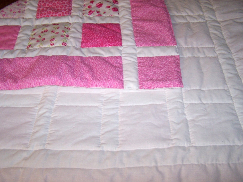 pink baby quilt hand made hand quilted