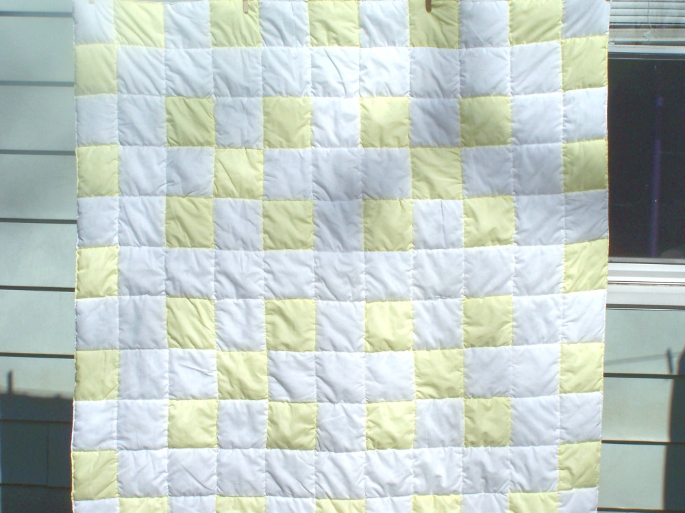 yellow nine patch quilt