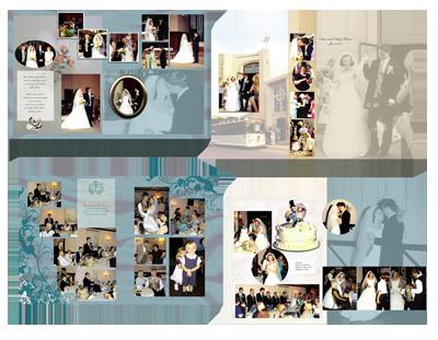 teal background wedding photo book
