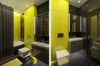 Дизайн ванной в Хабаровске Черный + Лайм
