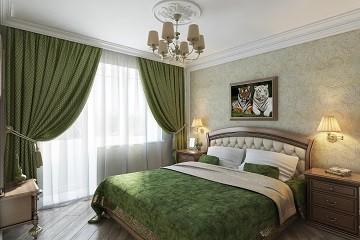 Зеленая спальная комната в классическом стиле