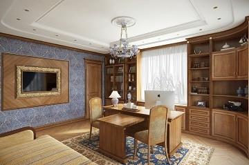 Дизайн кабинета в классическом стиле с библиотекой Хабаровск