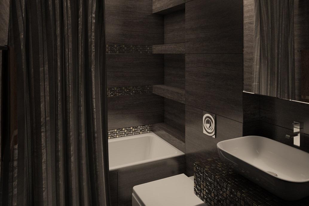 Черная ванная комната в современном стиле Хабаровск