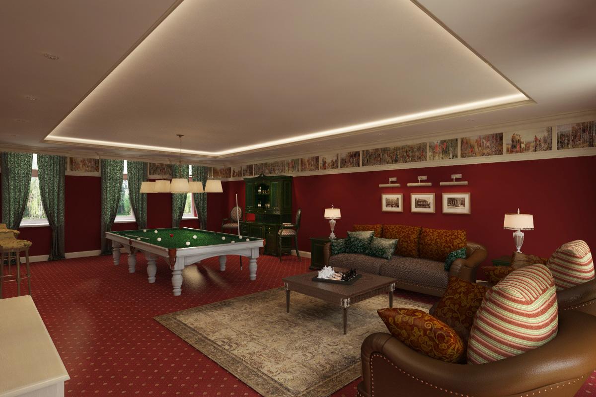 дизайн бильярдной комнаты Хабаровск