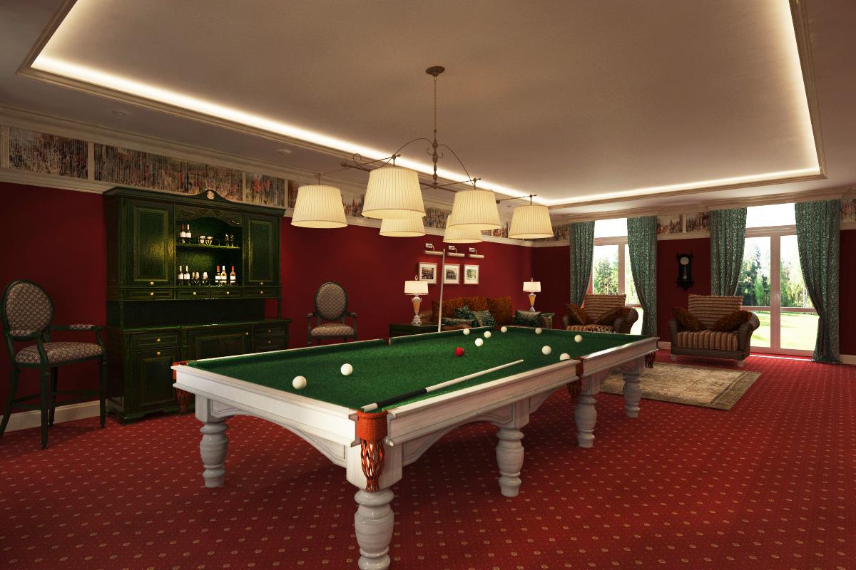 Бильярдная комната в классическом стиле