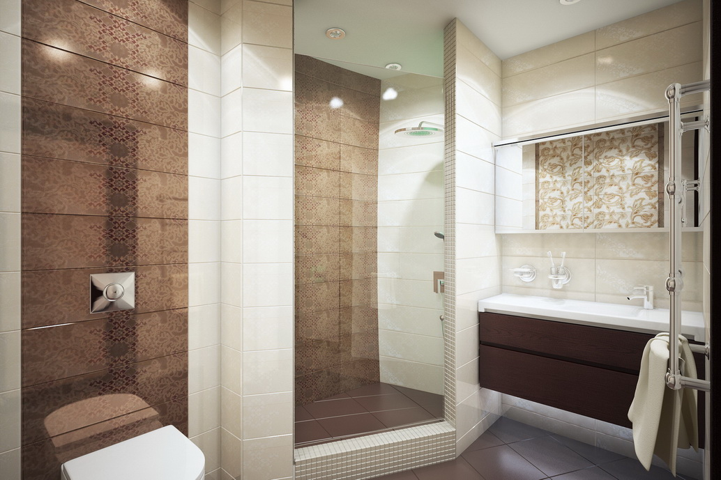 Дизайн ванной комнаты. Душевая. Вид 1. Интерьер квартиры по ул. Серышева Хабаровск