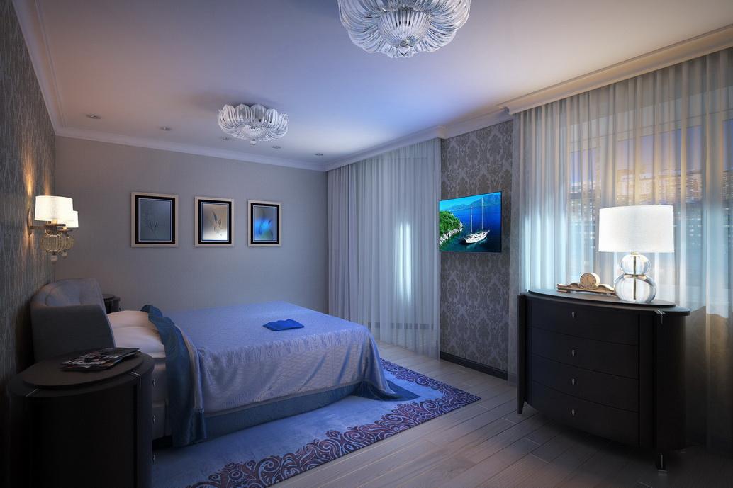 Дизайн спальни. Вид 1. Интерьер квартиры по ул. Серышева Хабаровск.