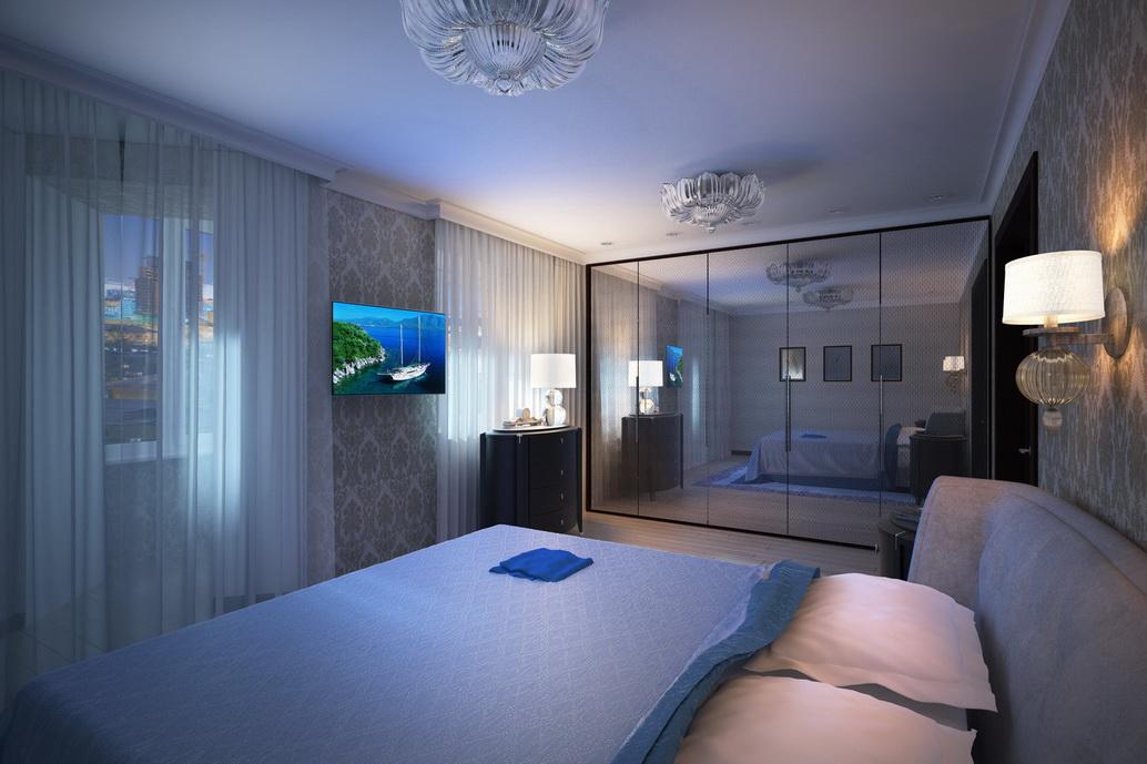 Дизайн спальни. Вид 2. Интерьеры квартиры по ул. Серышева Хабаровск