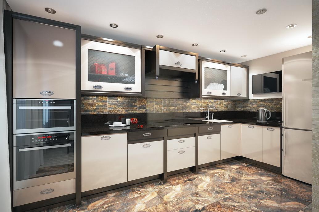Дизайн интерьера кухни в квартире по ул. Серышева Хабаровск. Вид 1