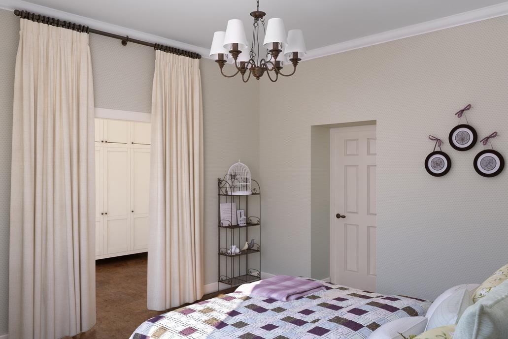 Дизайн спальни Хабаровск. Спальня с гардеробной. Кованая этажерка