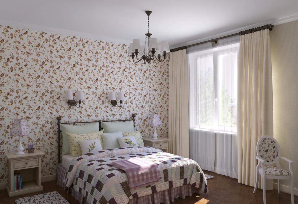 Дизайн спальной комнаты в стиле Кантри Хабаровск. Покрывало пэтчворк. Обои с птичками