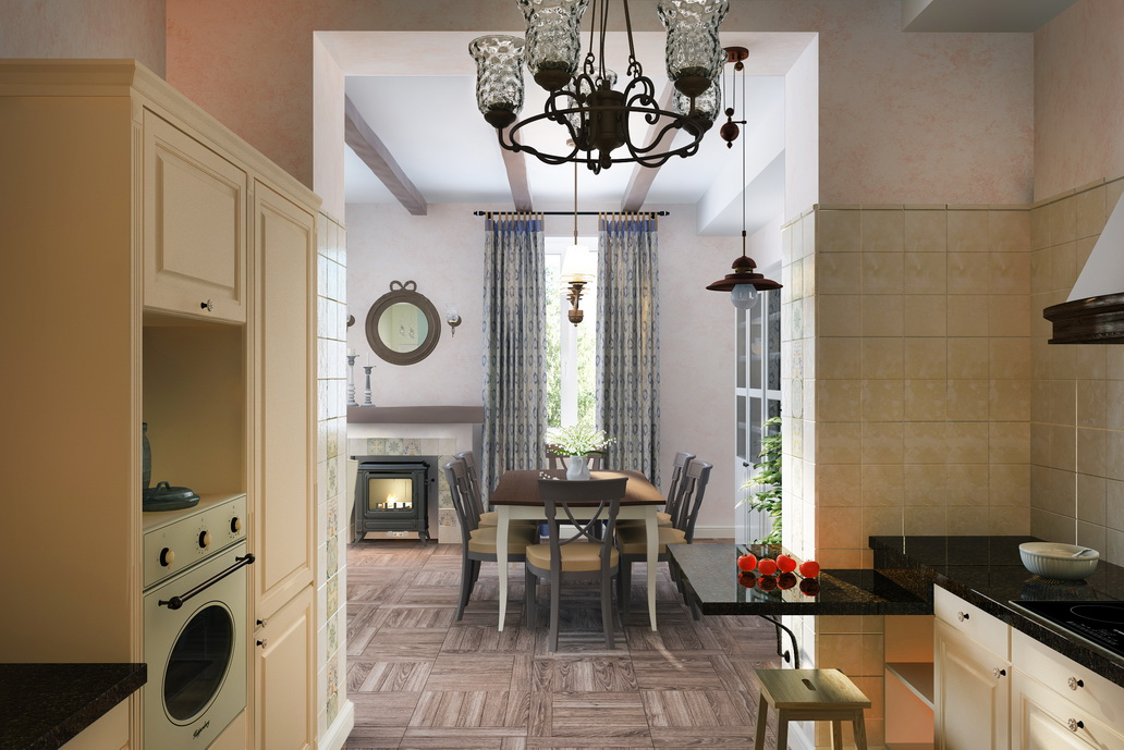 Дизайн квартиры в стиле Кантри. Дизайн столовой в Хабаровске. Камин печь буржуйка.