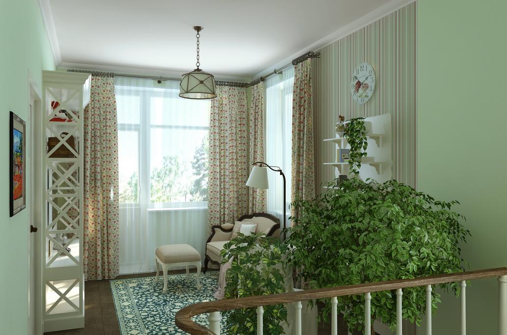 Дизайн интерьера большого дома в Хабаровске. Интерьер в стиле Кантри. Красивые шторы