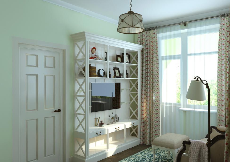 Дизайн гостиной. Дизайн интерьера дома в поселке Лукашово. Красивая этажерка