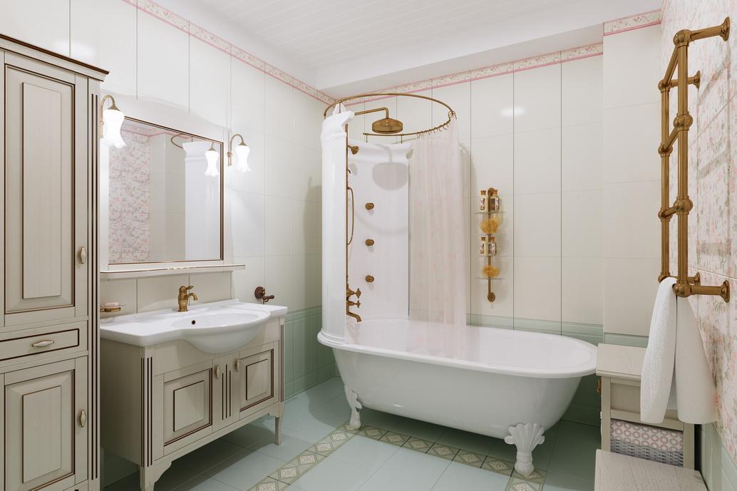 Ванная на ножках с душевой. Дизайн ванной комнаты. Красивая ванная. Большая ванная