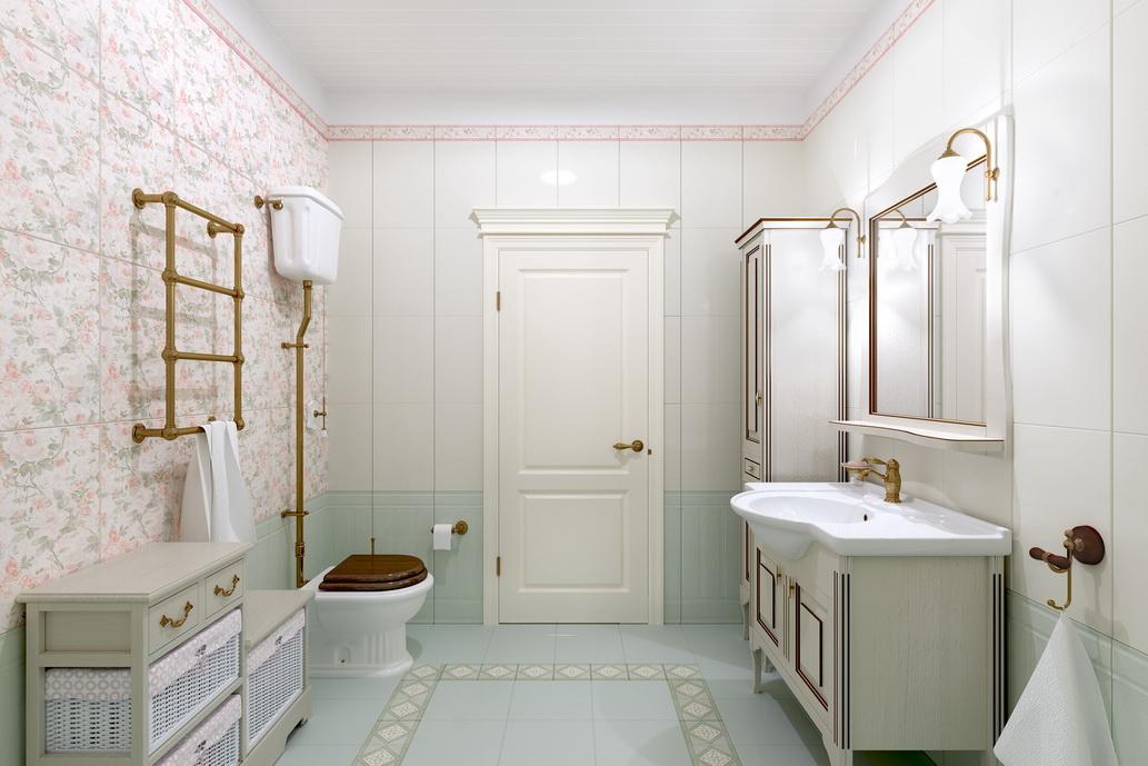 Заказать дизайн интерьеров в Хабаровске. Ванная в стиле Кантри