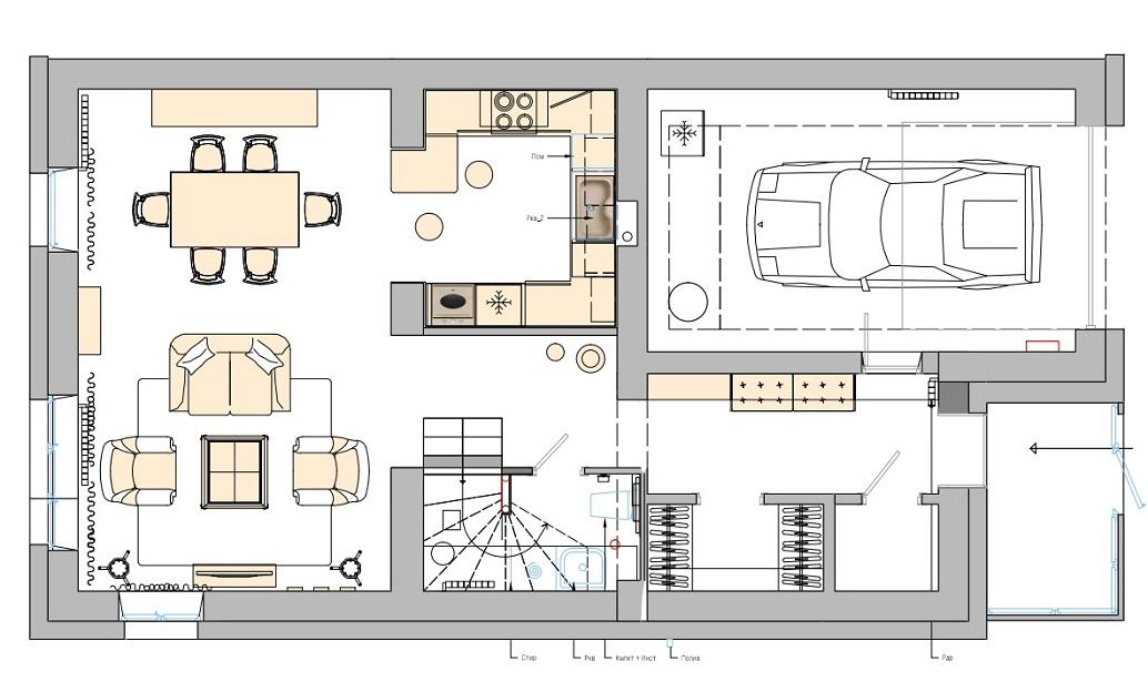 Дизайн интерьера дома в пос. Лукашово в Хабаровске. План этажа 1