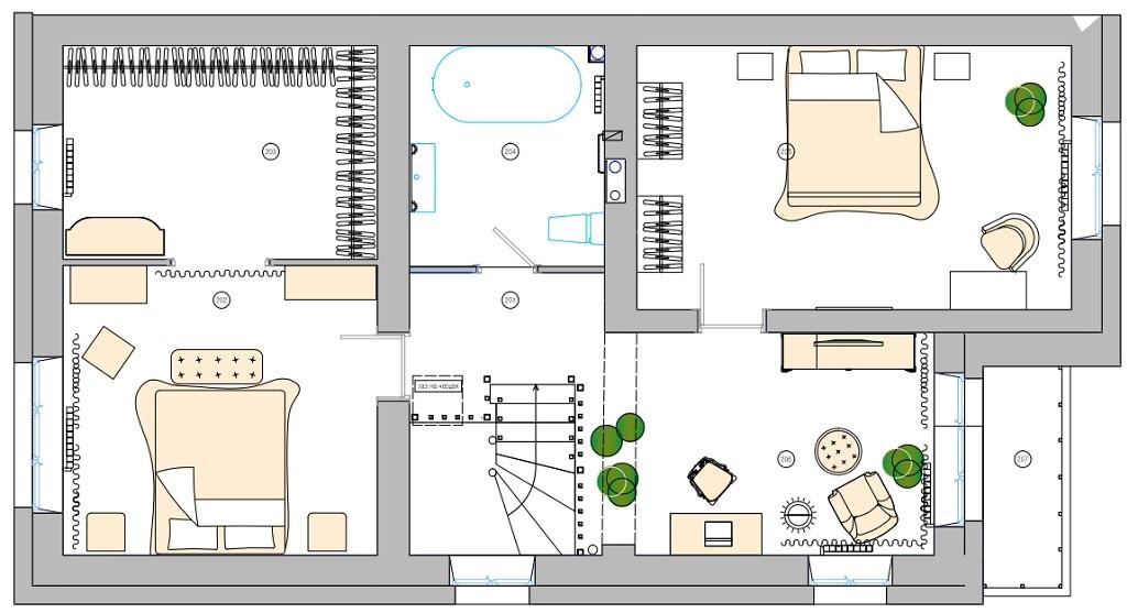 Дизайн интерьеров коттеджа в пос. Лукашово в Хабаровске. План этажа 2