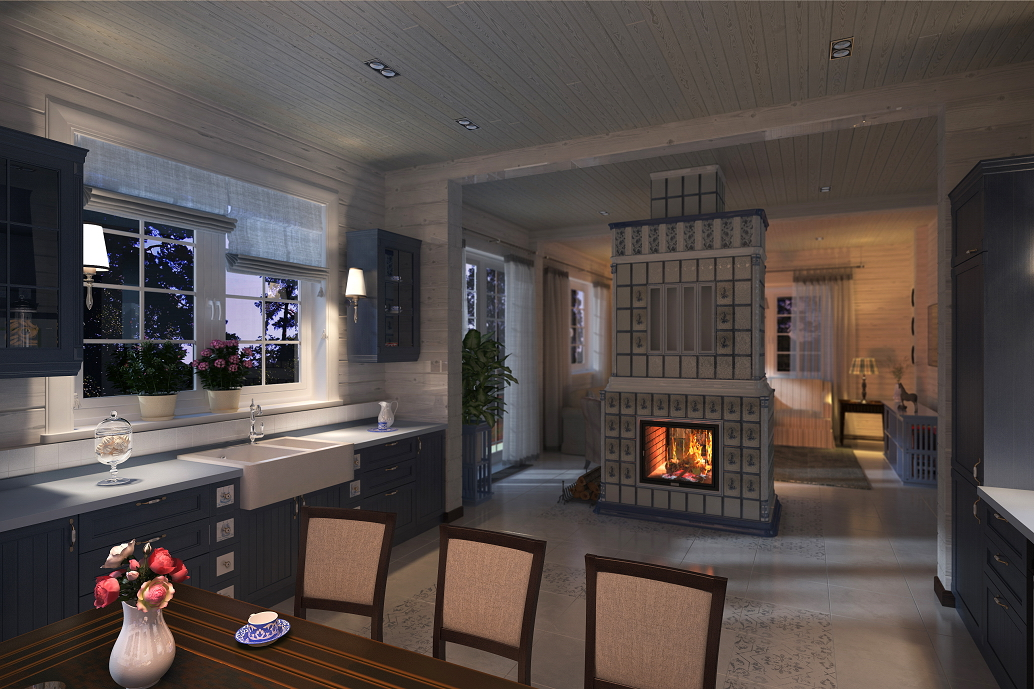 Дизайн дома с камином Хабаровск