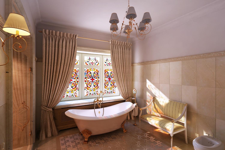 Дизайн интерьера ванной комнаты в классическом стиле Хабаровск.