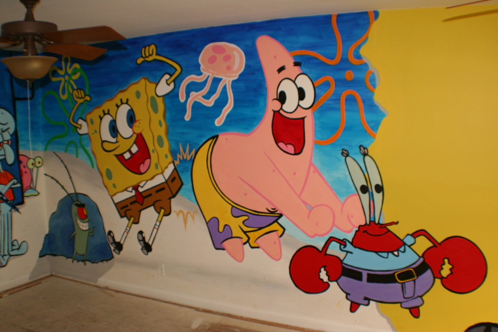 Sponge bob playroom mural for Mural sekolah