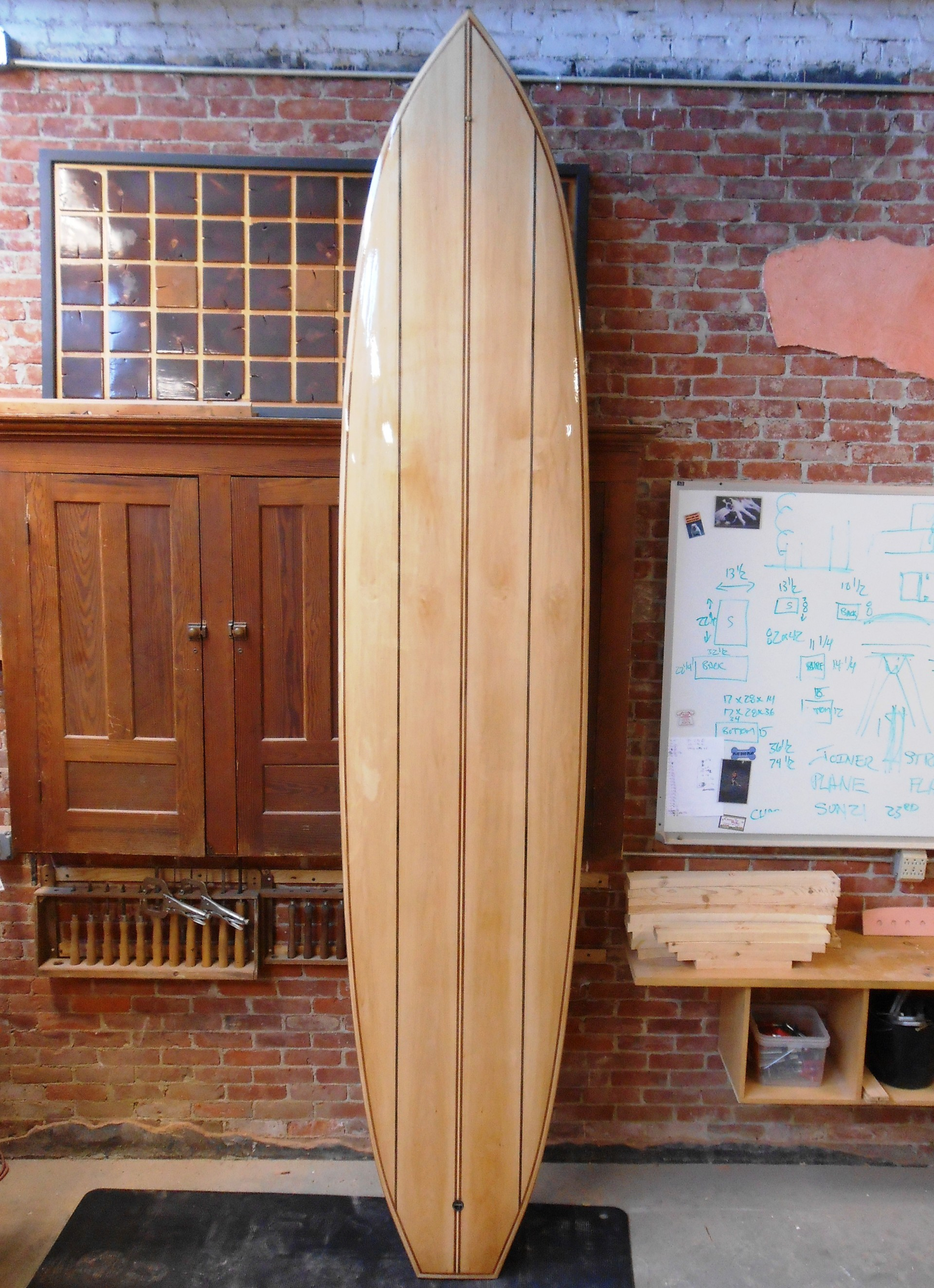 12' wood paddle board book bass with sapele and walnut striping tao woodworking