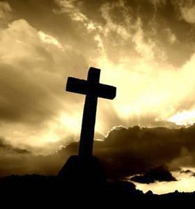 Christian Cross at dusk